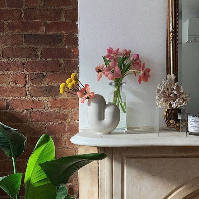 Thank you to @jasminedarling for such a cute shelfie pic!  The small (but not too small!) lip of our Kirby Vases makes for minimal but effective flower arrangements. 💙 🌸 💐 🌺  #talbotandyoon #kirbies #vases #flowers #flowervase #dsfloral
