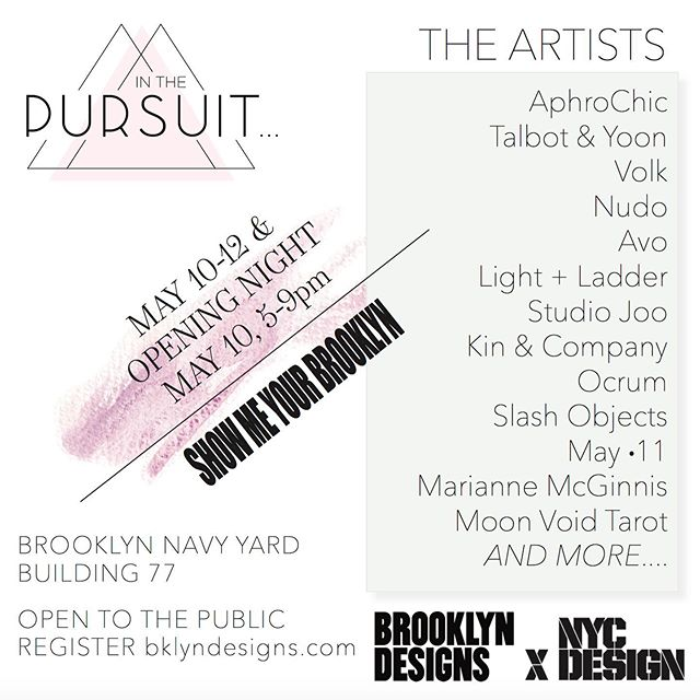 Come see some of our work displayed by @inthepursuit_studio during @brooklyndesigns annual show for @nycxdesign week (month!) Opening reception tonight @bklynnavyyard 5-9p . . . Building 77, 141 Flushing ave on 15th floor. Open to the public, register at bklyndesigns.com  #talbotandyoon #lightingdesign #lighting #madeinbrooklyn #brooklyndesigns2019