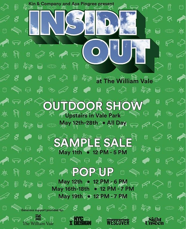 We'll be selling a few of our pieces at the Pop-Up shop that is a part of the Inside Out show, curated by @asapingree and @kinandcompany . Sponsered by @_sightunseen_  and @wescoverapp as part of an @nycxdesign event.  Check it out at the @thewilliamvale this weekend and next- and also get a wonderful @dus_donuts while you're there 🍩 😋  #talbotandyoon #boblamps #kirbyvases #goobercandles #trivets And more!