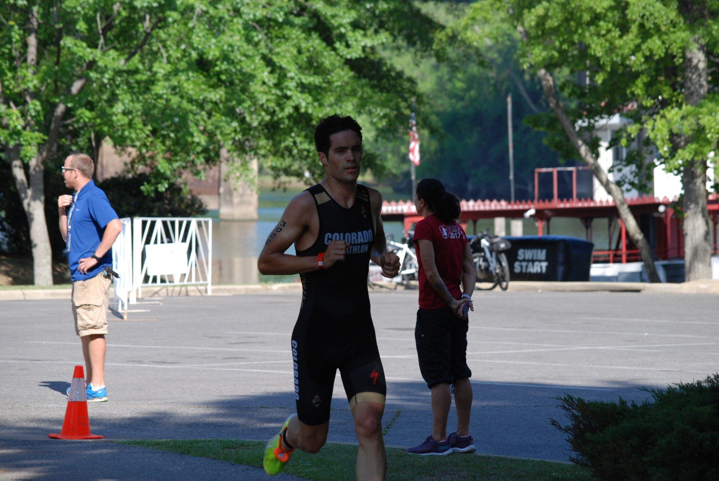Around 2.5 km into the run. I had build a 10 second lead by this point.