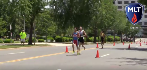 Screenshot from the beginning of the second run lap with John just next to me and Michael a few strides down.