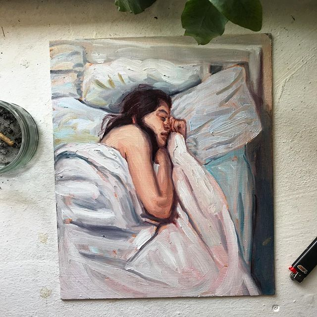 Painted today from life. Oil on board. . . #painting #art #paintingfromlife #figureativeart #paintanyway #artistsoninstagram #artist #studio #bed #oilpainting #artoftheday #artwork