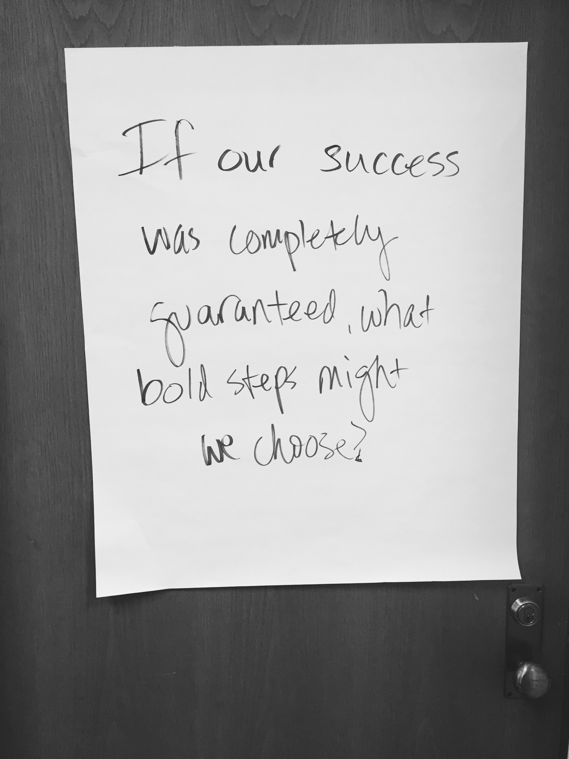 Depicted is a poster that hangs on our door after our internal ideation session.