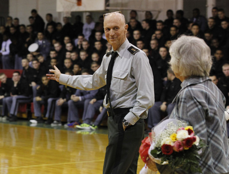 Fletcher and Betty Jean Arritt take the floor prior to Coach Arritt's final home game.