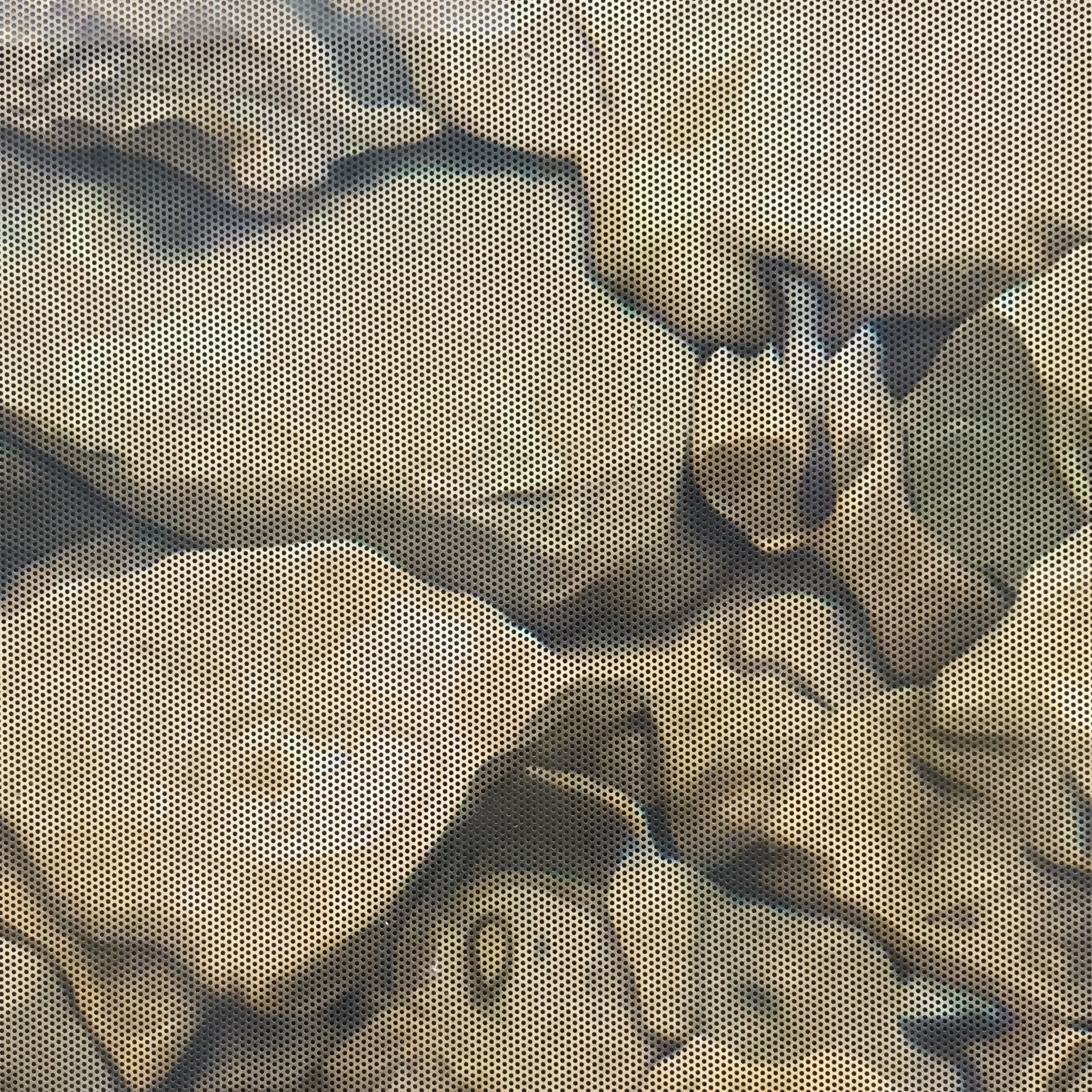 detail of a window decal (rocks)