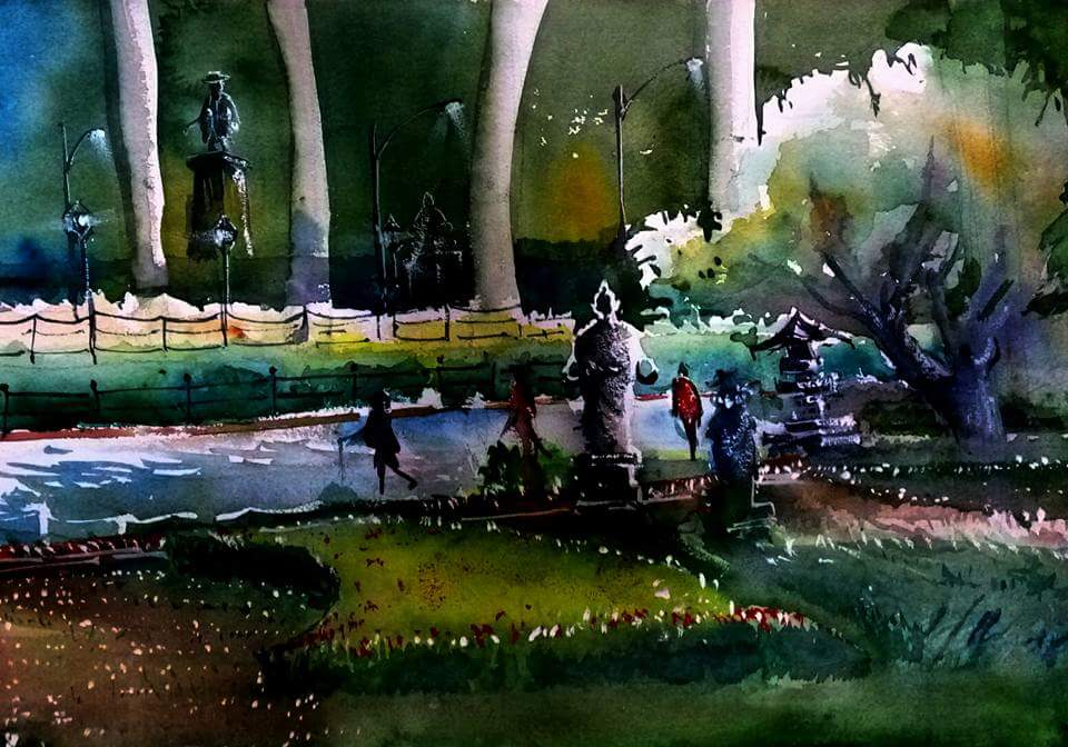 When my exhibition was in national museum, in evening I painted ,museum garden 55*45 cms Watercolor