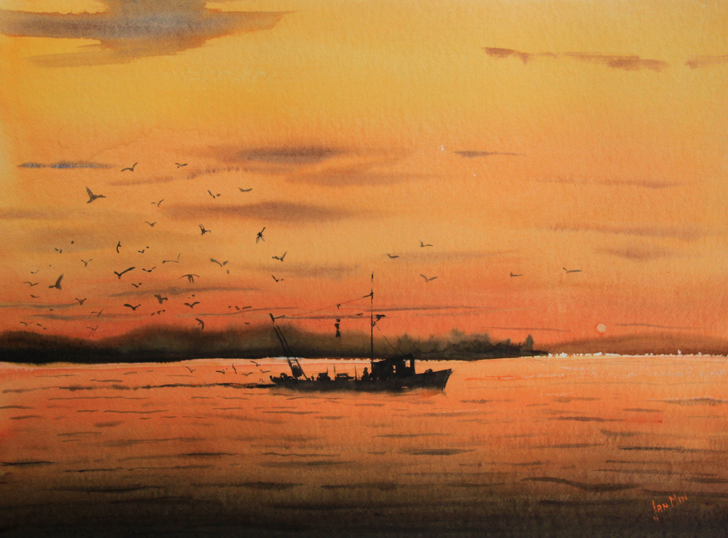 """FISHING AT SUNSET"""