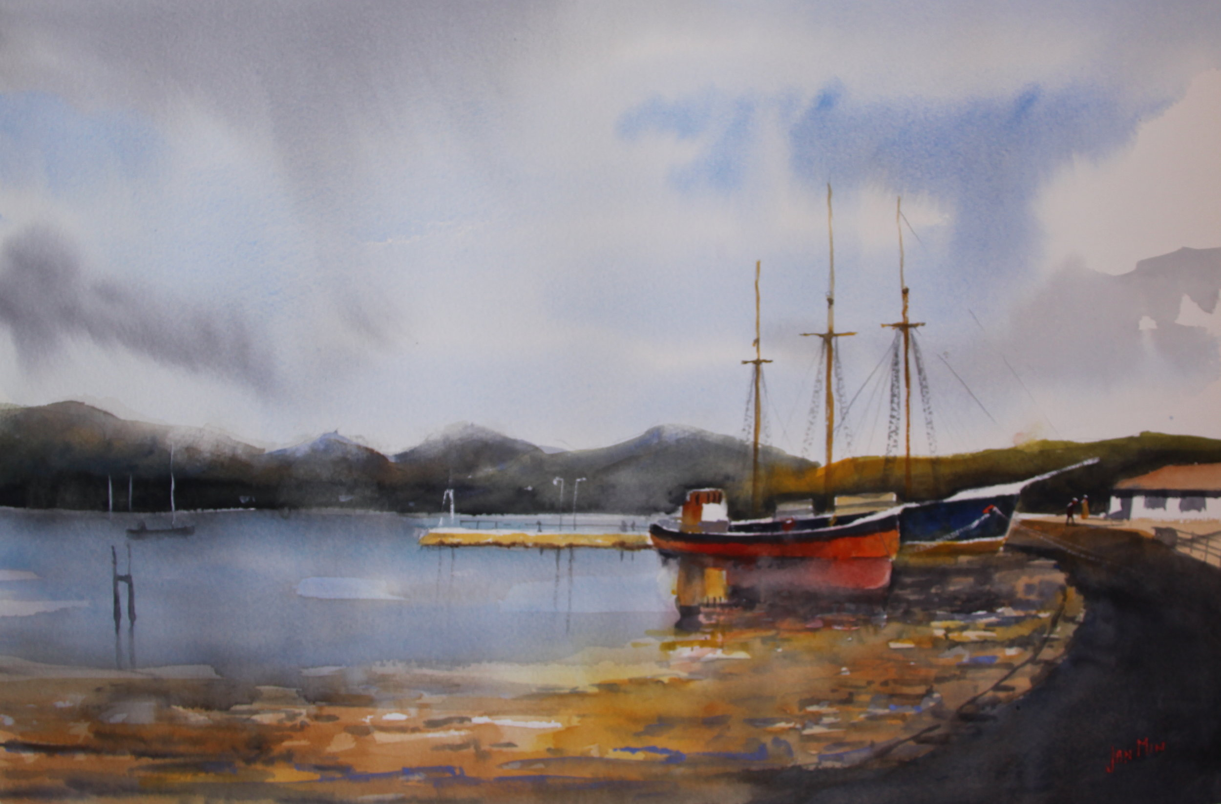 JanMin_boatreflections_ 40 x 60,watercolor,€ 850.JPG