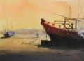 Asean boat on beach. 40 x 50 cm,watercolor € 750JPG.JPG