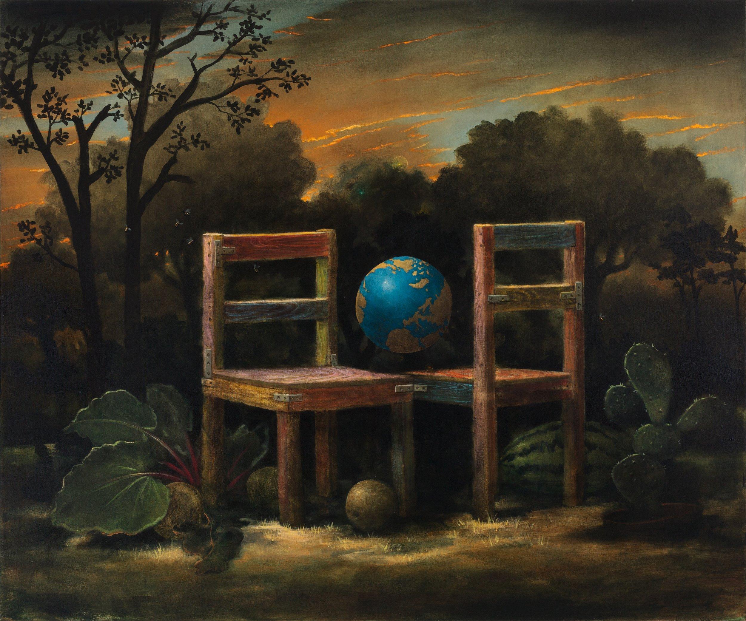 "The Conversation, 60""x72"", acrylic on canvas"