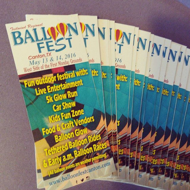 Ready to get the word out about the 2015 Tailwind Balloon Fest! #trballoonfest #balloonfest #cantontx www.balloonfestcanton.com
