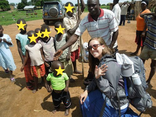 Here I am with a bunch of kids from Nakasongola. I have no idea who any of them are and didn't think twice about asking their parents for photo permission…this kid in the green is obviously concerned.