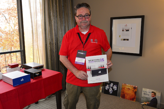 Jonathan Billington from the UK's Music First Audio displaying his exceptional ware including the new Classic Phono Amplifier 632 (MC-Step-Up 632) at $1000 (small red one), and new Classic MM phono Amplifier 632 ($3000) (large blue one).