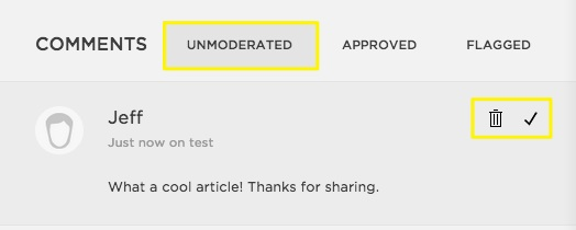 Your unmoderated Comment will look like this in the Audiophilia Comments queue. We just 'tick' the comment and it shows up in the article's Comments Section.
