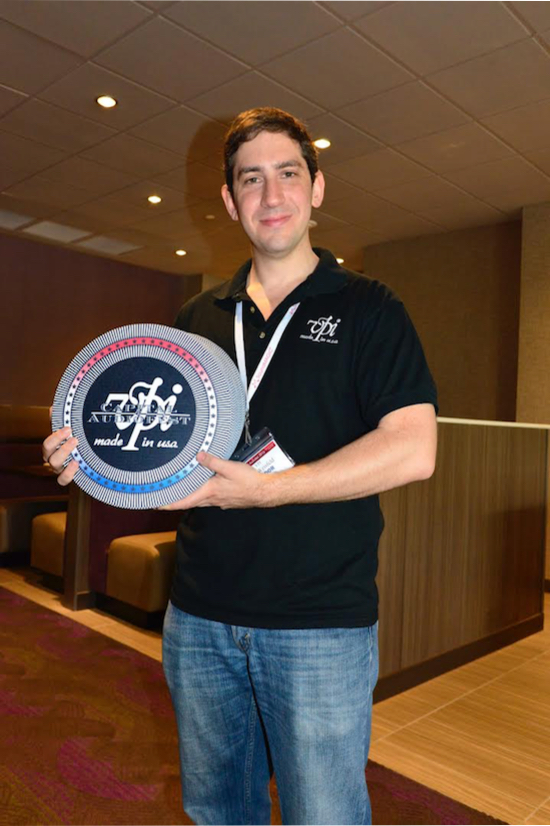 `Mat for Mat': The ever cheerful and passionate Mat Weisfeld (President of VPI) handing out free  specially made Capital Audio Fest turntable  mats in the hotel.