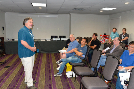 David Sckolnik Director of Sales and Marketing (DSA) enthusiastically lecturing and teaching about mono recordings and play.