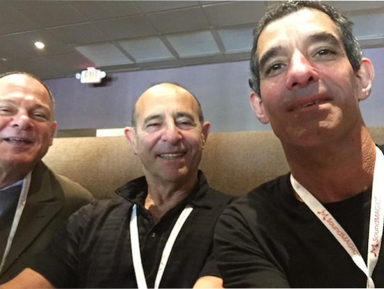 That's lunch. From left to right -- Mike Levy from Alta Audio, with Marty Appel and Karl Sigman of Audiophilia.