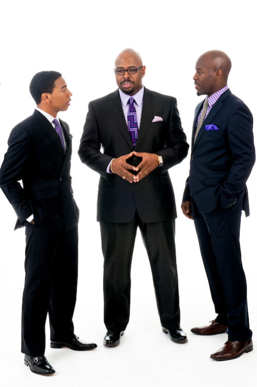 McBride (center)is joined by his trio bandmates, pianist Christian Sands (left) and drummer Ulysses Owens, Jr. (right).
