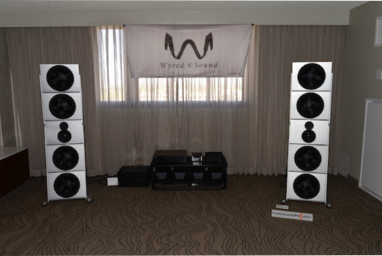 PureAudio Stellar 12 speakers ($25,000 /pair) with Wyred amplification.