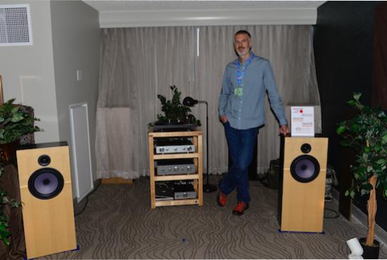 John Devore of Devore Fidelity with his Orangutan 0/93 speakers ($8,400 /pair).