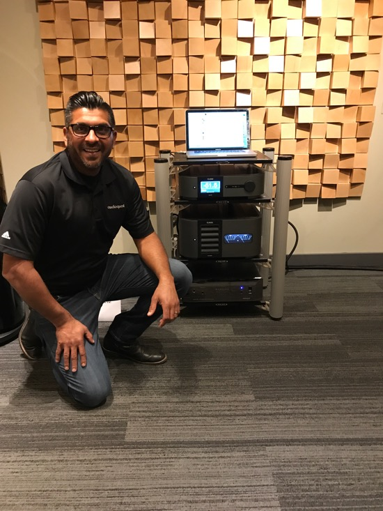 Rashpal Rai of Audioquest with his Niagara 7000 Low Z Noise Dissipation Center (CAD$9,950).