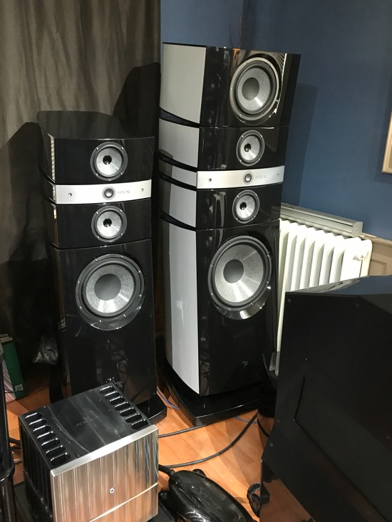 Focal loudspeakers with one of the Jeff Rowland 925 monoblocks in the foreground.