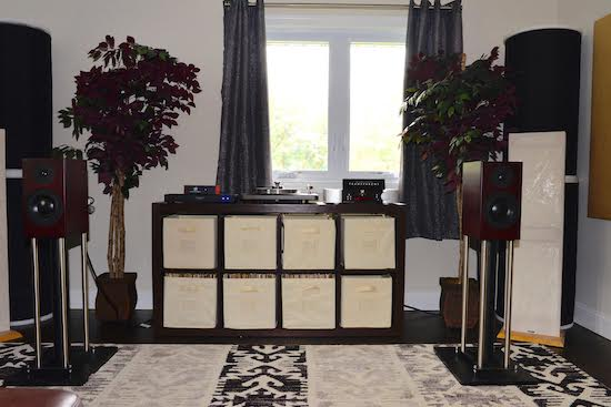 """Room 1. """"Good"""" / Entry level Audiophile System:   VPI Cliffwood Turntable, Totem Signature One Speakers, VPI Cliffwood Phono, Ortofon 2M Red, Moon by Simaudio Integrated, Transparent Cable."""