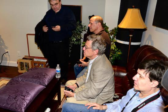 From top: Michael Trei, Myles Astor and Michael Fremer listening to Jeff Beck (apologies to 4th reviewer. Can somebody ping us his name? Thx.)