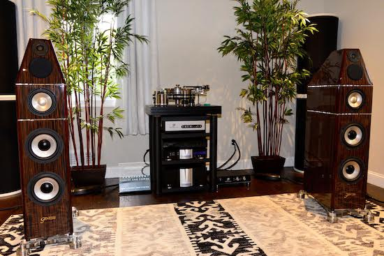 """Room 3. """"Best"""" / High-end Audiophile System:   VPI Avenger with Fatboy JMW 12 arm, Lyra Etna, VPI Voyager Phono, Krell amplification and pre-amp, Genesis Maestros, Transparent Cable.  This was a beautiful and very fine sounding room; Krell Industries was showing off its new XD technology (Class A) in its stereo amplifiers; coupled with a Krell preamplifier; clean sounding with nice body and soundstage. Walter Schofield, COO of Krell was on hand to explain the improvement of sound offered by the XD technology."""