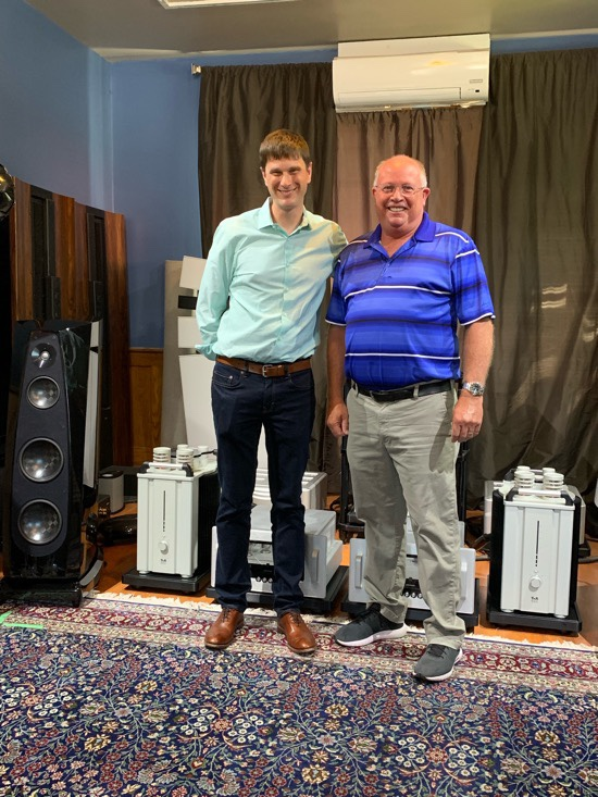 Josh Clark, newly minted owner and President of Rockport Technologies and David Schultz, North American Sales Manager of T+A elektroakustik GmbH. The T+A M40 Monoblocks are $59,000/pr and the Rockport Technologies' Avior II are $38,500/pr