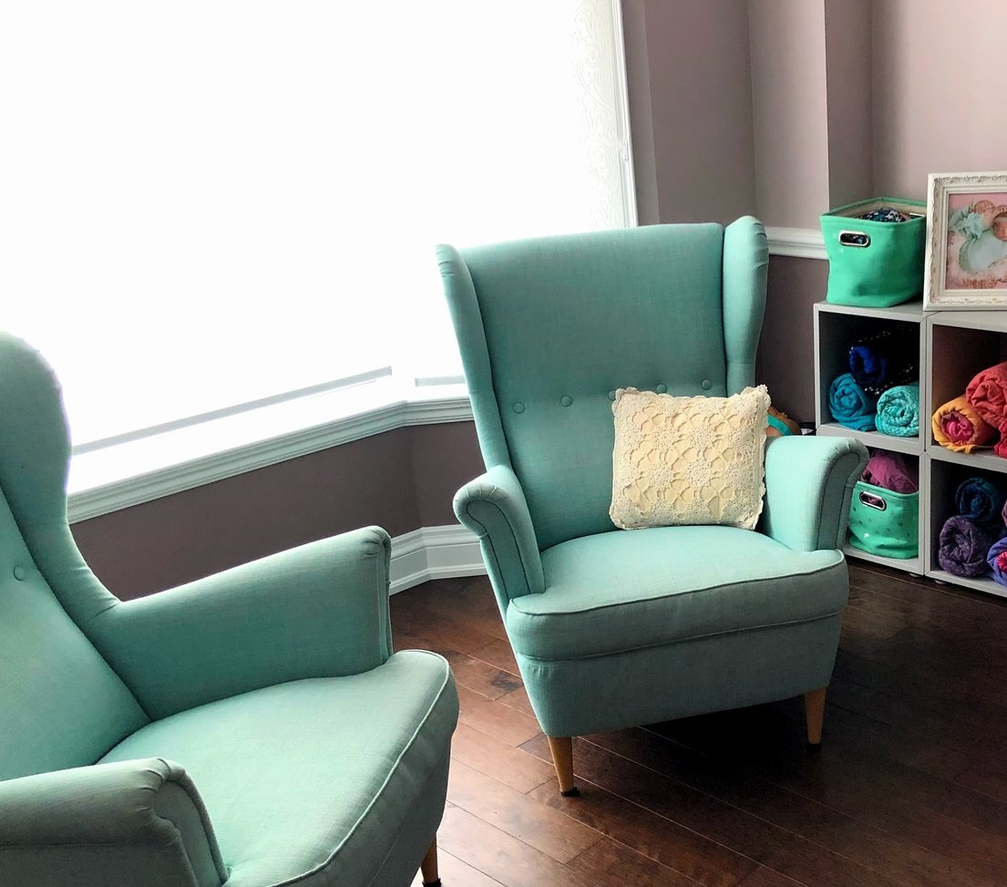 An inviting place to sit down and talk or care for your baby.