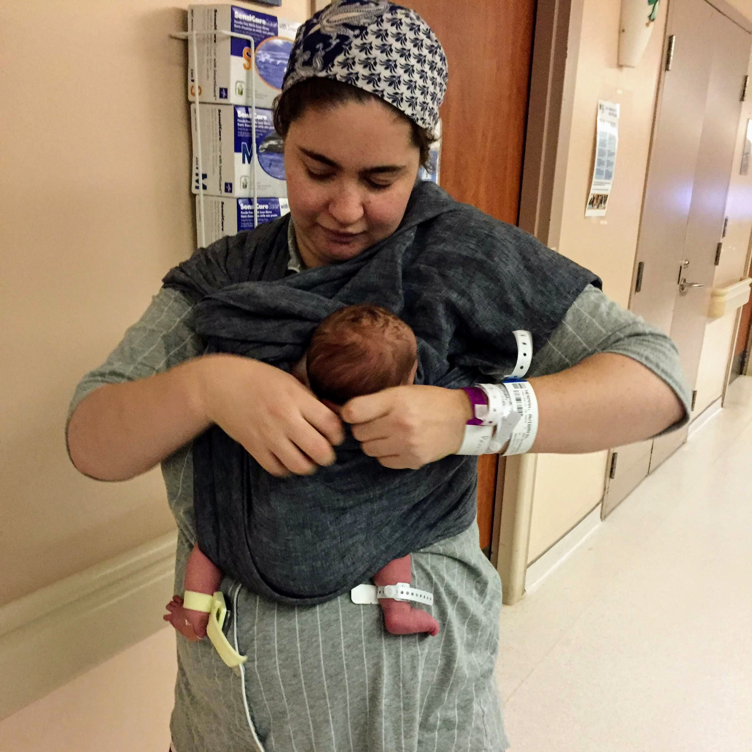 Using a ring sling the day after my c-section.