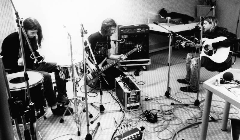 Nirvana practices at Hilversum Studios, in the Netherlands, in November of 1991. (Getty Images)
