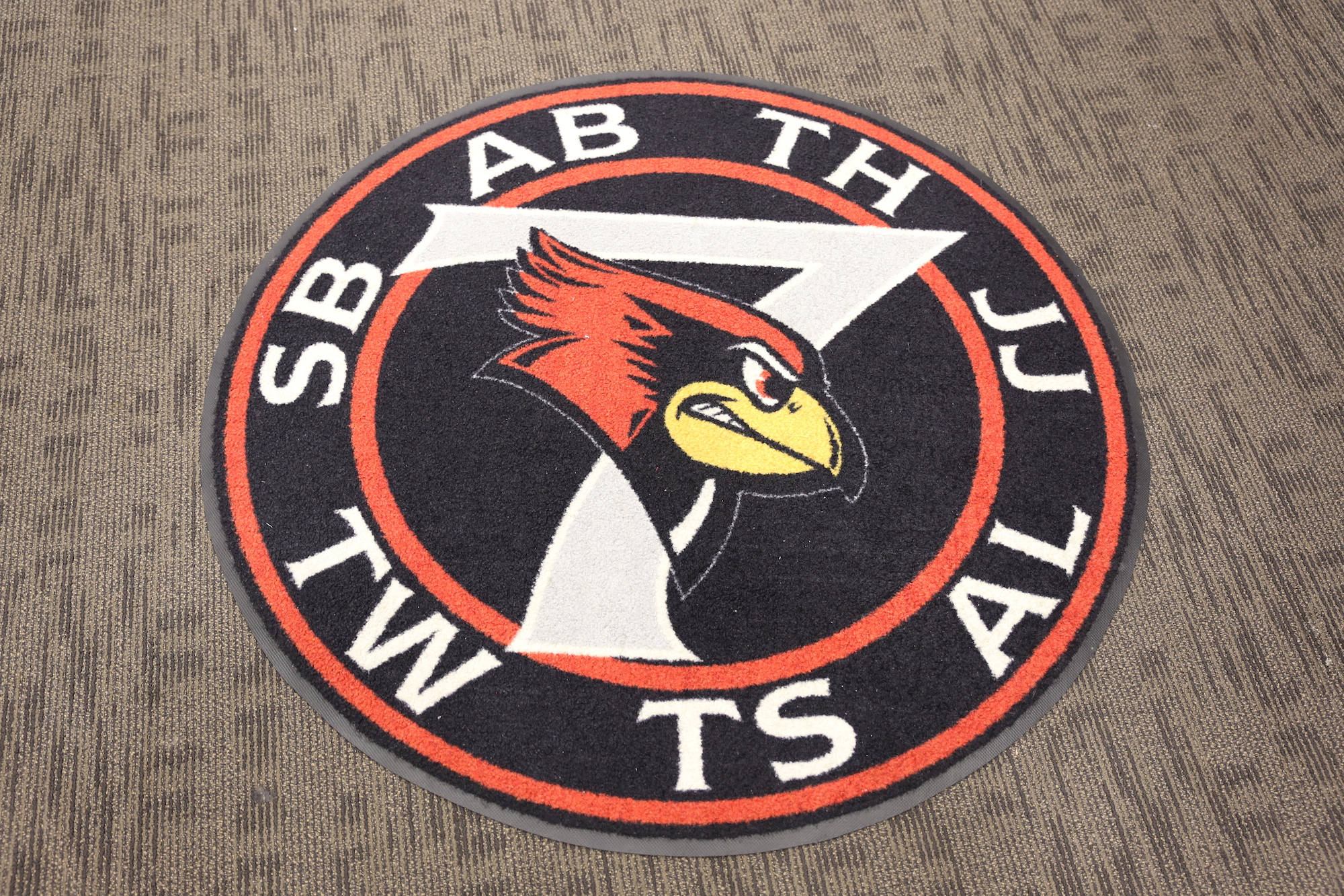 The Redbird 7 logo in Illinois State's locker room.