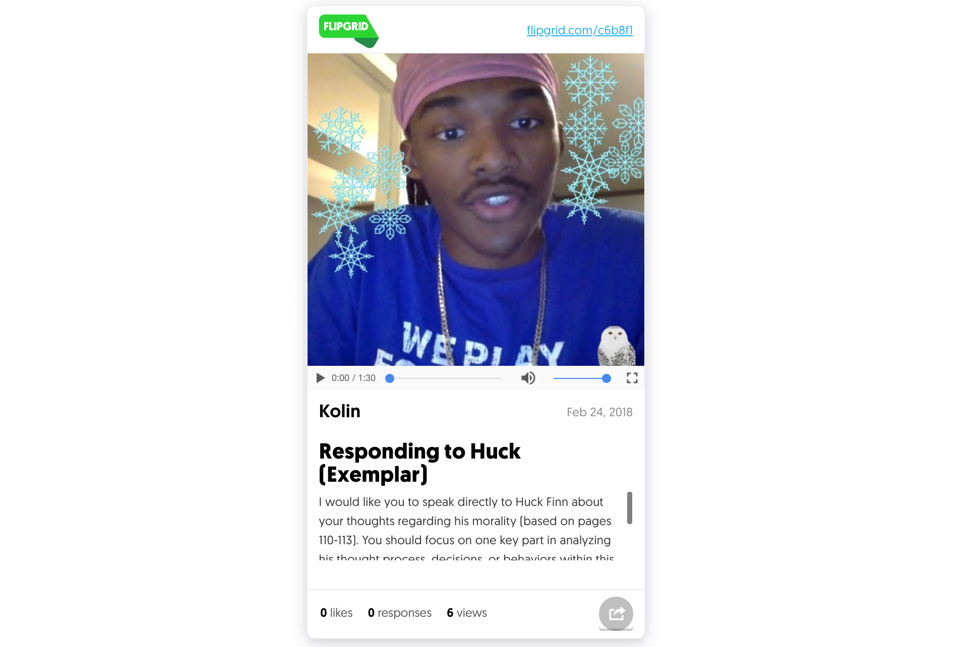 Check out Kolin's video message to Huck Finn  here .