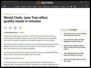 World Chefs: Jane Tran offers quality meals in minutes  - Reuters, October 2014
