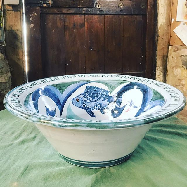 42cm Font bowl for Christchurch Croft Lancashire #yarntonpottery #andrewhazelden #fontbowl
