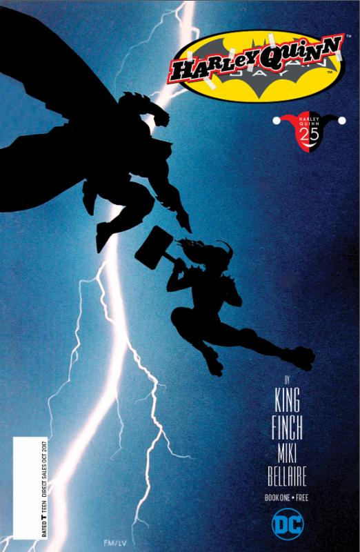 """Batman Day 2017 Special Edition #1 reprints  Batman #16, the first chapter of """"I Am Bane,"""" written by Tom King with art by David Finch. This issue's cover art is by Ryan Sook and features Batman and Harley Quinn in an homage to  The Dark Knight Returns #1.  This issue also includes a new, three-page original story written by Amanda Conner and Jimmy Palmiotti with art by Bret Blevins!"""