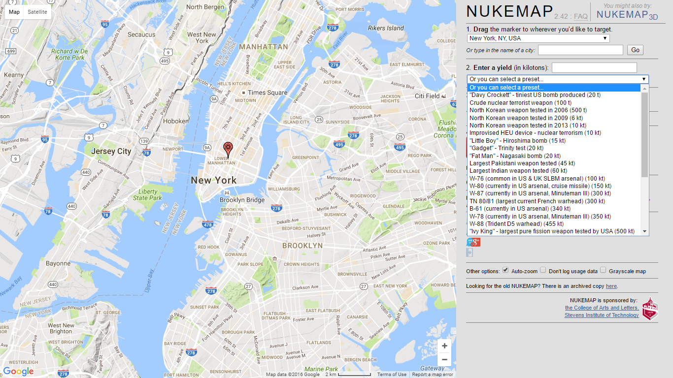 The NUKEMAP is aimed at helping people visualize nuclear weapons on terms they can make sense of — helping them to get a sense of the scale of the bombs