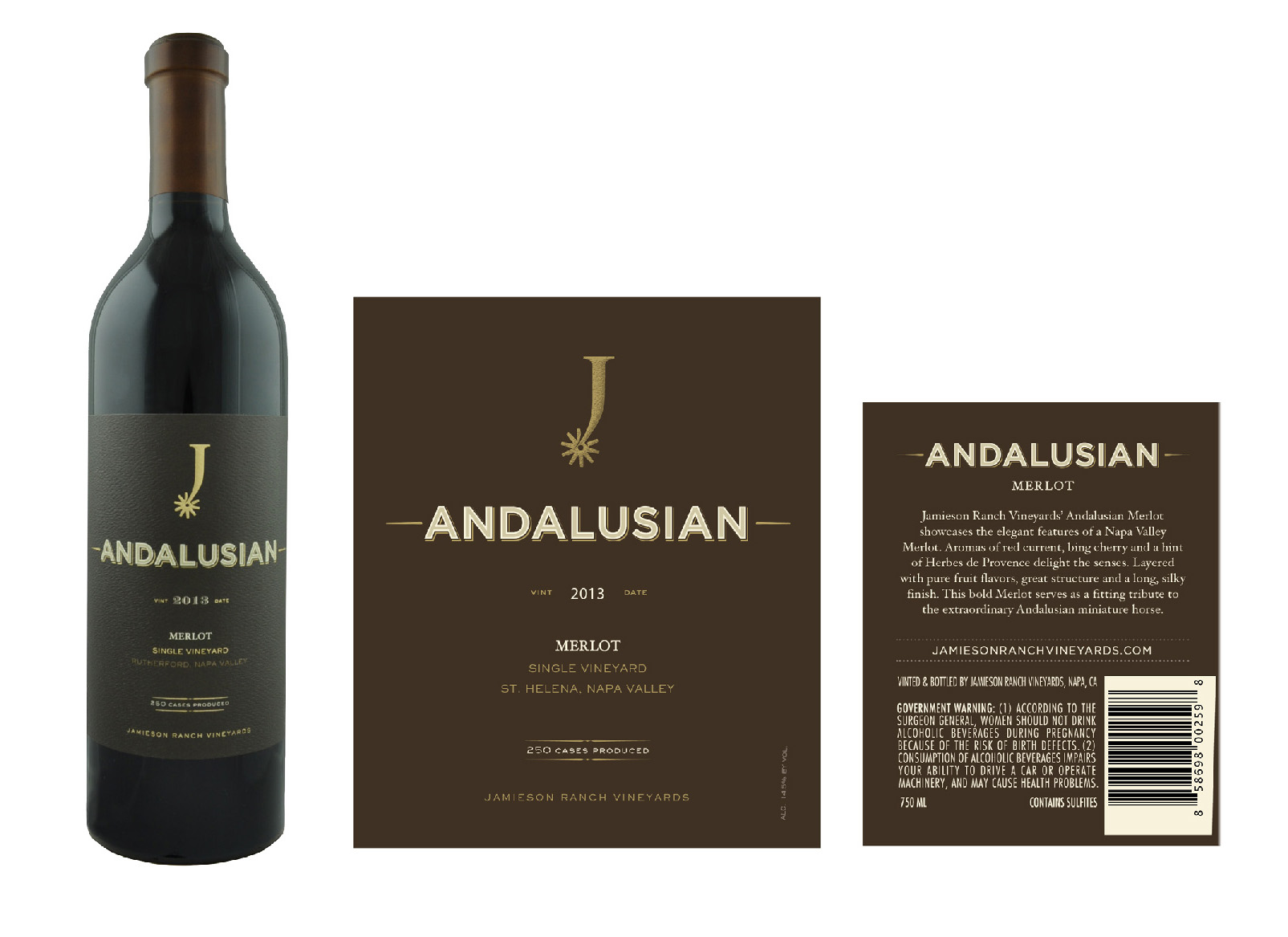 Jamieson Ranch Vineyards Andalusian package design