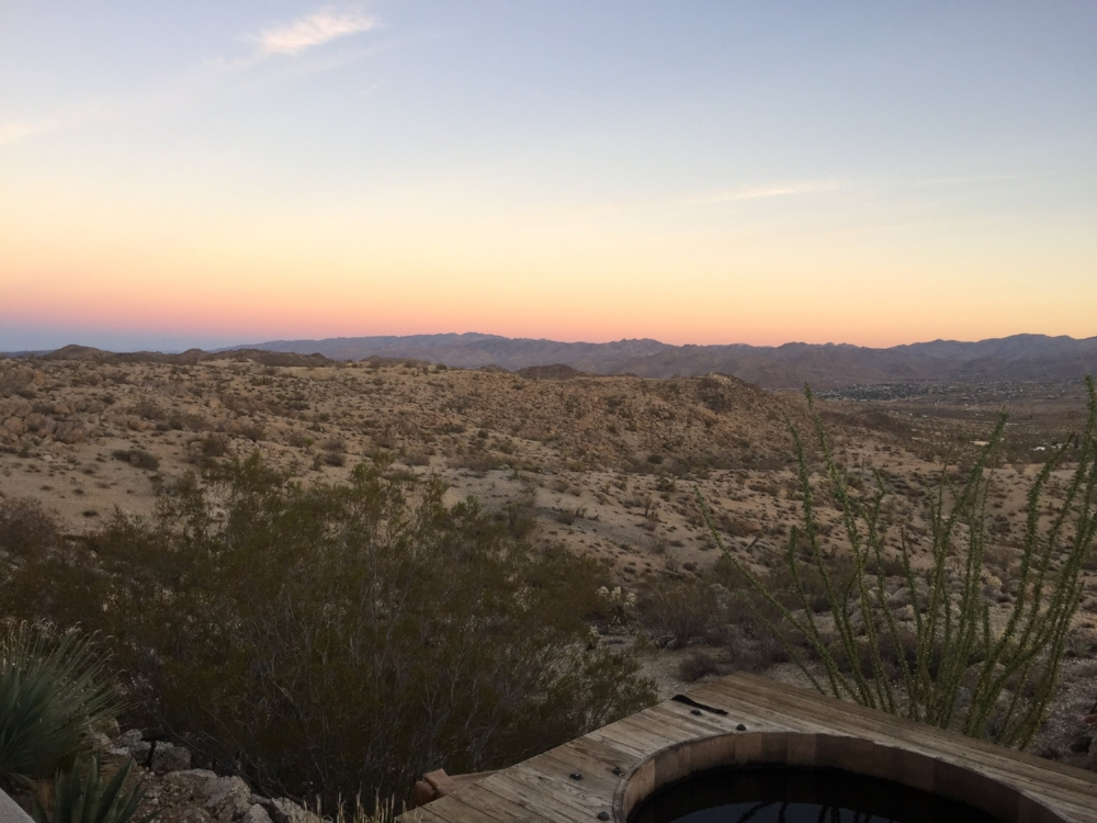 sunset & hot tub, can't complain
