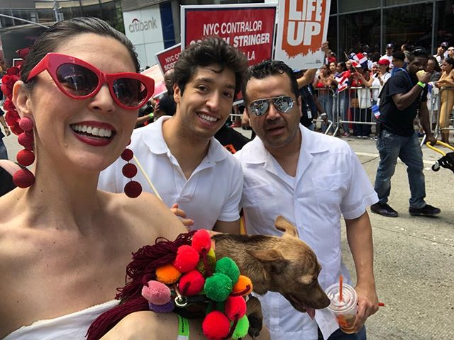 Celebrating our Dominican brothers and sisters at the NYC #dominicanparade today. Just because you weren't born to another's culture, doesn't mean you can't celebrate with them. Count me in for any occasion to dance, play dress up, and celebrate the beauty and FUN of humanity! #diversity is #fun and #dominicansrule  Gracias a mi amiga @drwendy3 for bringing the heat and including us in @nyccomptroller 's section!