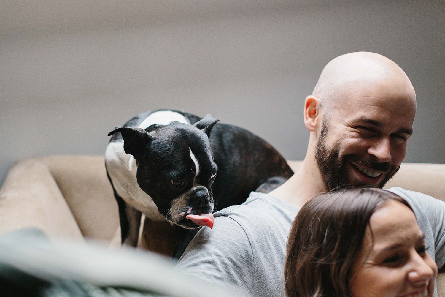 downtown-toronto-in-home-engagement-session-toronto-wedding-photographer-ryanne-hollies-photography-documentary-candid-natural-photos-engaged-in-toronto-couple-cuddling-with-puppy-cute-french-bulldog.jpg