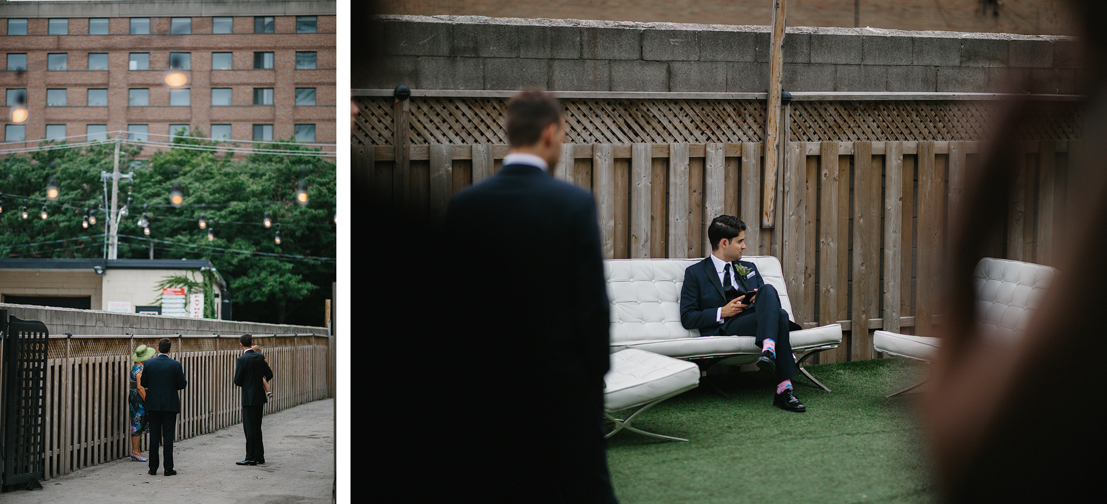 downtown-toronto-wedding-photographer-ryanne-hollies-photography-airship37-distillery-district-wedding-day-modern-minimalist-venues-in-toronto-cool-trendy-hipster-party-bus-outdoor-patio-graffiti-groomsman-waiting-sitting.jpg