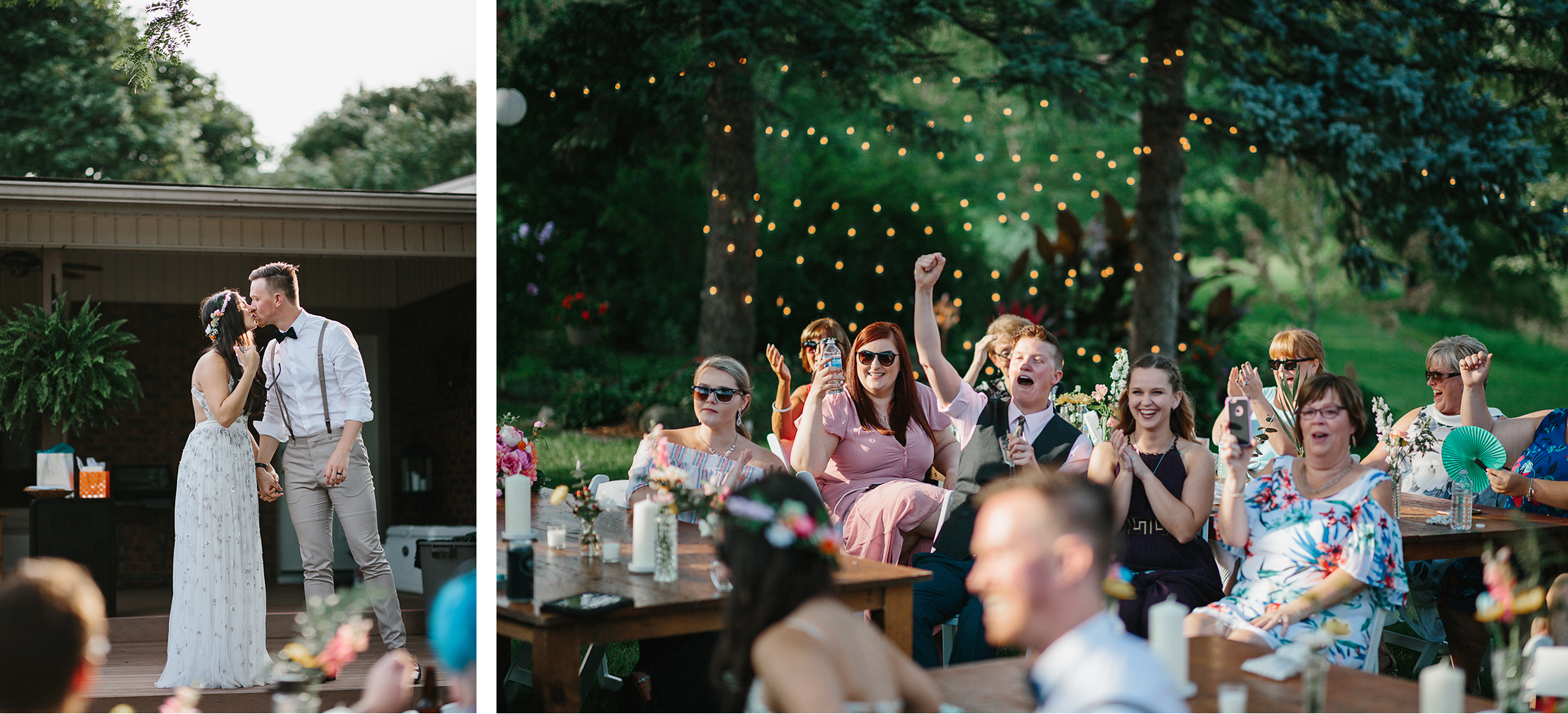 23-Backyard-toronto-film-photographer-ryanne-hollies-photography-diy-string-lights-and-lanterns-reception-dinner-documentary-wooden-harvest-tables-diy-decor-speeches-bride-and-grooms-speech-kiss.jpg