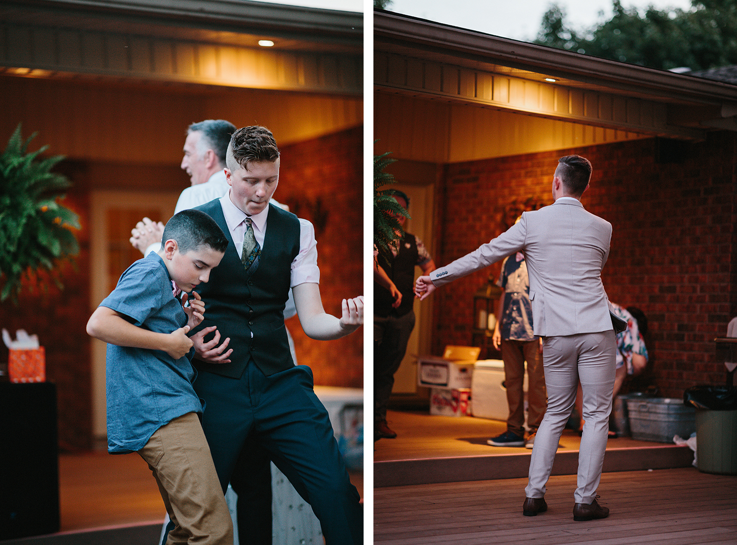 28-Backyard-toronto-film-photographer-ryanne-hollies-photography-diy-string-lights-and-lanterns-reception-documentary-fun-candid-dancing-guests-groom-flossing.jpg