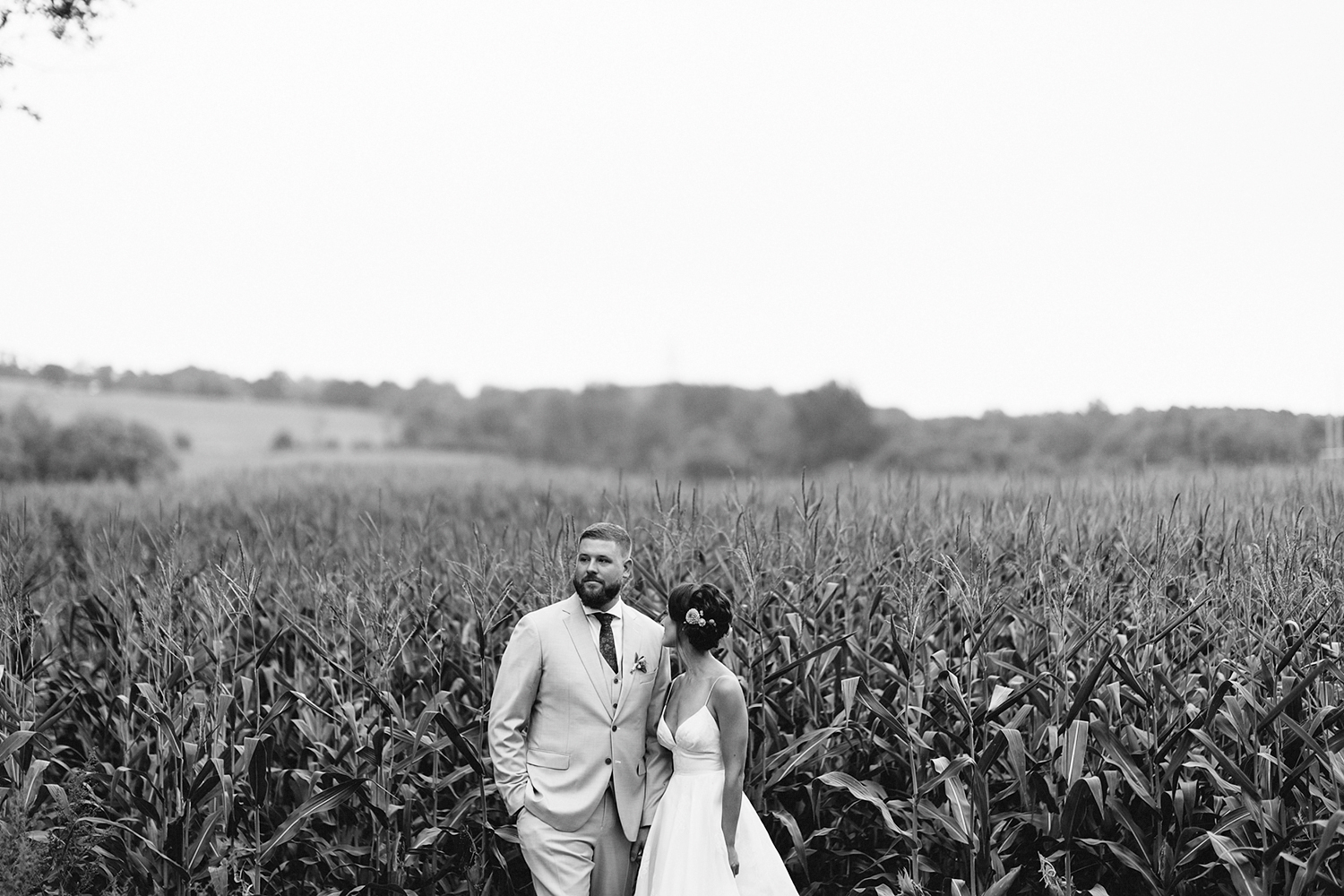 Best-Toronto-Wedding-Photographers-Photojournalistic-Wedding-Photography-in-Toronto-Ryanne-Hollies-Photography-candid-documentary-bradford-family-farm-rustic-venue-inspiration-bride-and-groom-portraits-in-corn-field-bw.jpg