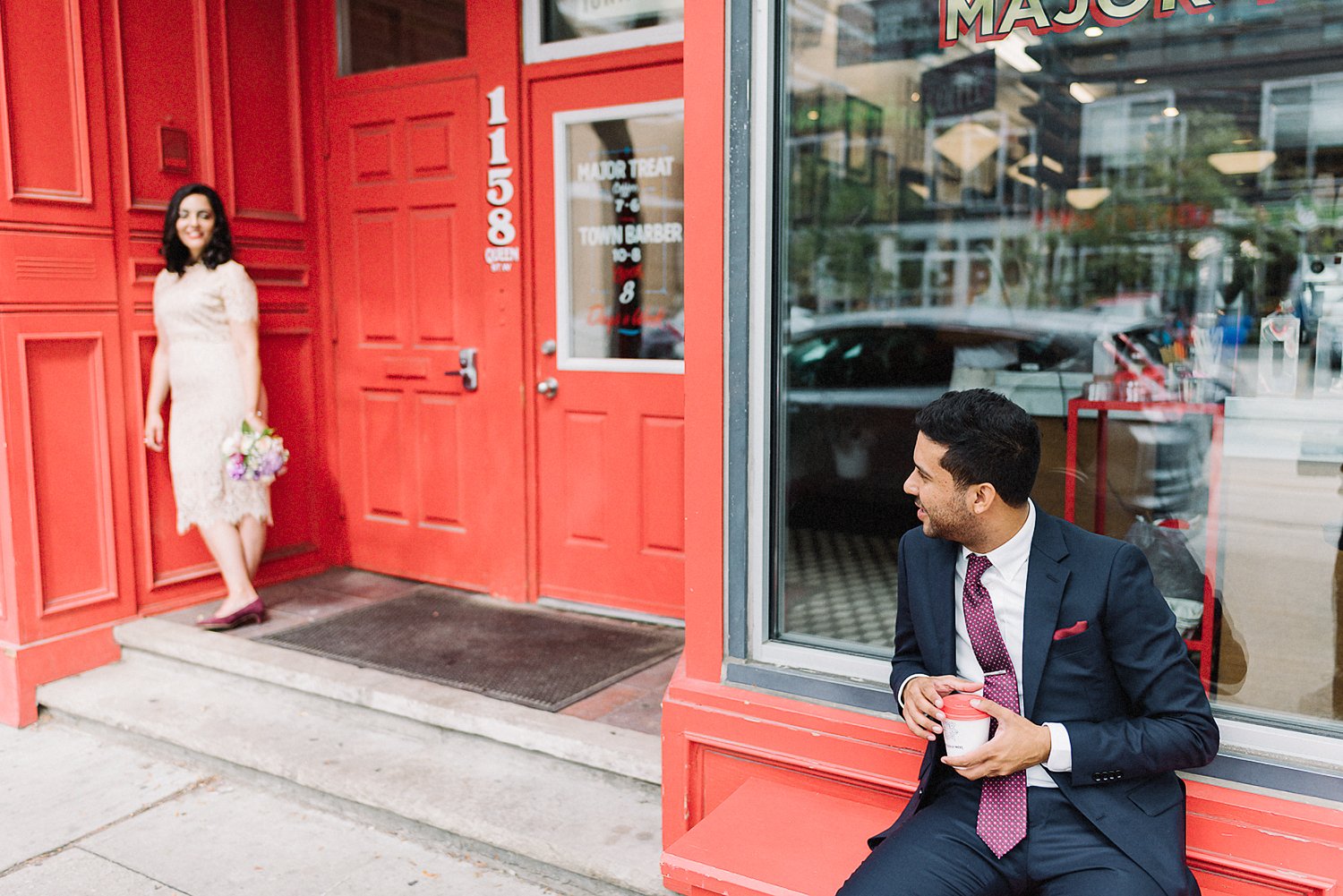 Minimalist-Wedding-at-Gladstone-Hotel-Best-Wedding-Photogrpahers-in-Toronto-with-Documentary-and-Editorial-Style-Ryanne-Hollies-Floral-Bouquet-and-Wedding-Dress-Detail-Portraits-along-queent-street-west-Groom-Portrait-candid.jpg