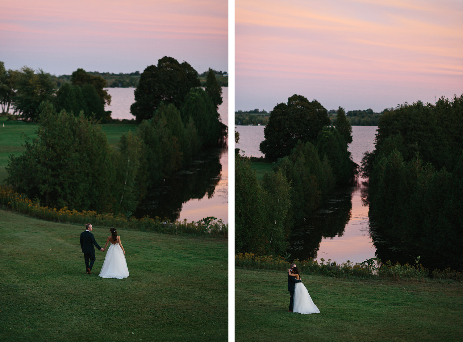 16-couples-portrait-ideas-sunset-golden-hour-in-field-view-of-lake-At-Eganridge-Resort-Venue-Muskoka-Ontario-Wedding-Photography-by-Ryanne-Hollies-Photography-Toronto-Documentary-Wedding-Photographer.jpg