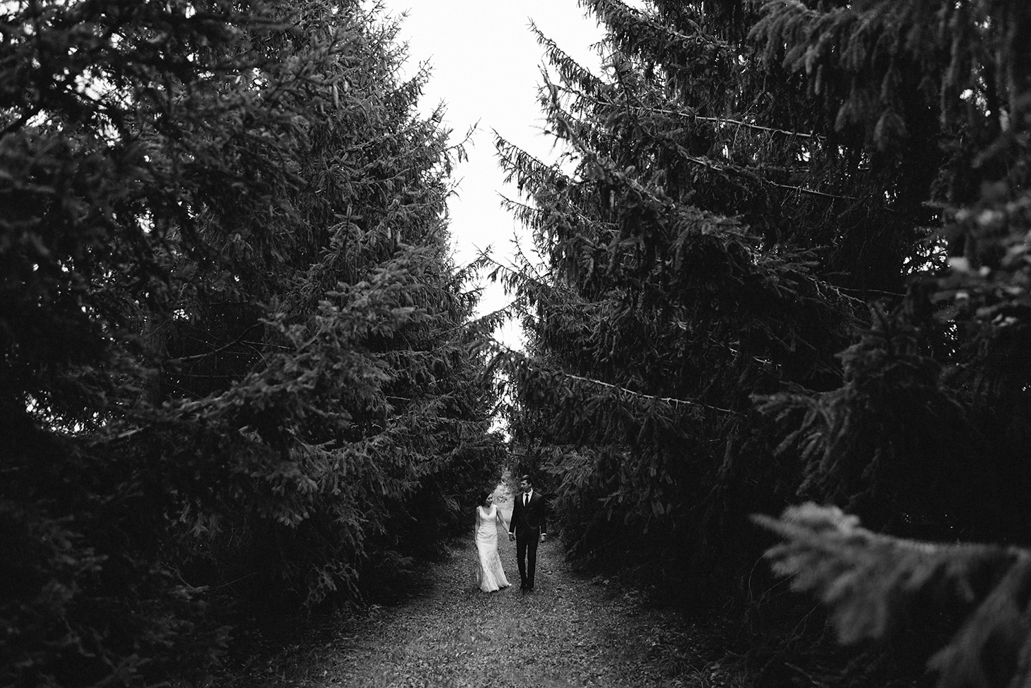 bw-bride-and-groom-couples-portraits-in-forest-wilderness-outdoors-romantic-moody-walking-real-moments-photos-toronto's-best-wedding-photographers-candid-documentary-style-photography-london-ontario-winery-wedding-inspiration.jpg